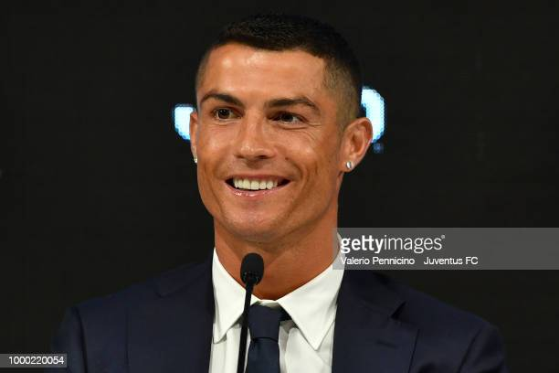 Juventus new signing Cristiano Ronaldo speaks to the media during the press conference on July 16 2018 in Turin Italy