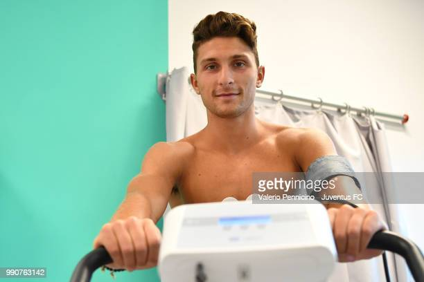 Juventus new signing Mattia Caldara undergoes medical tests at Jmedical on July 3 2018 in Turin Italy