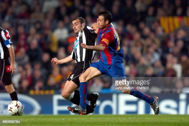 Juventus' Paolo Montero and Barcelona's Luis Enrique battle for the ball
