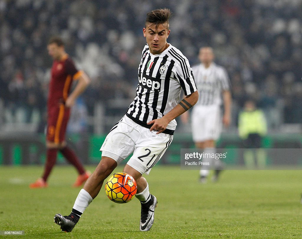 JuventusÕ Paulo Dybala in action during the Italian Serie A football match  between Juventus and Roma