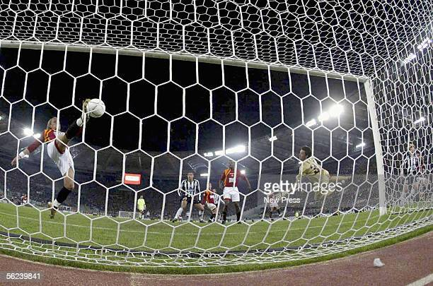 Juventus' Pavel Nedved scores during the Serie A match between AS Roma and Juventus at the Stadio Olimpico on November 19 2005 in Rome Italy