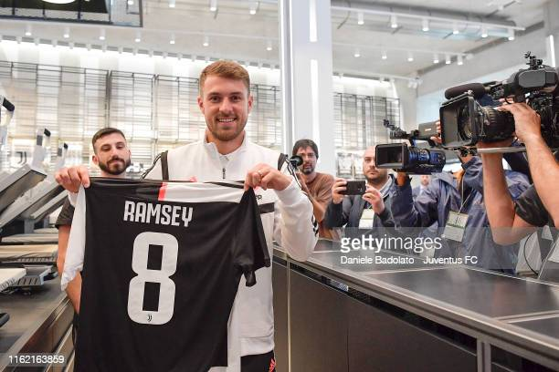 Juventus player Aaron Ramsey at the Juventus Store on July 15 2019 in Turin Italy