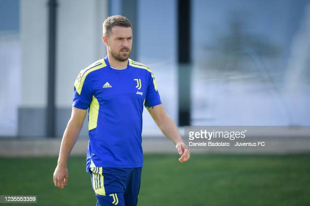 Juventus player Aaron Ramsey during a Champions League training session at JTC on September 28, 2021 in Turin, Italy.
