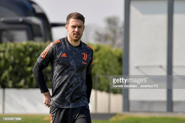 Juventus player Aaron Ramsey during a training session at JTC on March 08, 2021 in Turin, Italy.