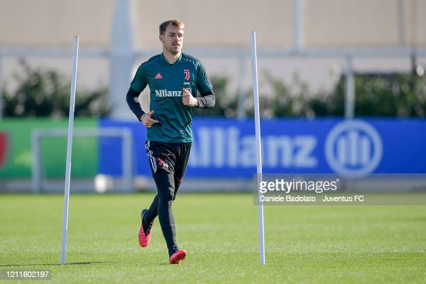 Juventus player Aaron Ramsey during a training session at JTC on March 10, 2020 in Turin, Italy.