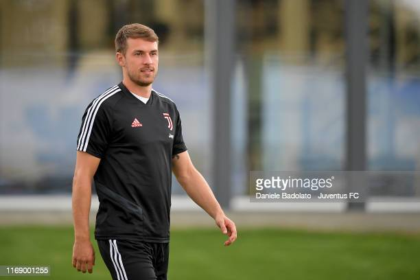 Juventus player Aaron Ramsey during a training session at JTC on August 19 2019 in Turin Italy