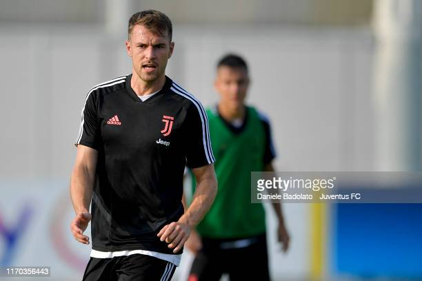 Juventus player Aaron Ramsey during a training session at JTC on August 26, 2019 in Turin, Italy.