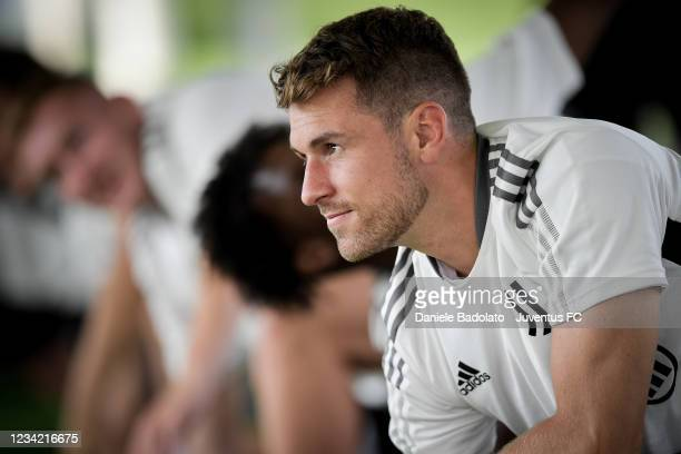 Juventus player Aaron Ramsey during a training session at Jtc on July 26, 2021 in Turin, Italy.
