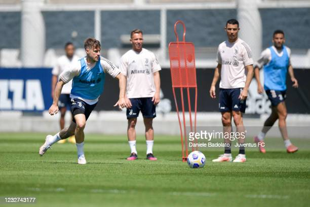 Juventus player Aaron Ramsey during a training session at JTC on May 07, 2021 in Turin, Italy.