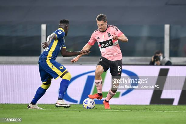 Juventus player Aaron Ramsey during the Serie A match between Juventus and Hellas Verona FC at Allianz Stadium on October 25 2020 in Turin Italy