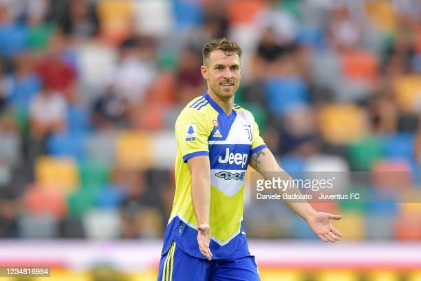 Juventus player Aaron Ramsey during the Serie A match between Udinese Calcio v Juventus at Dacia Arena on August 22, 2021 in Udine, Italy.