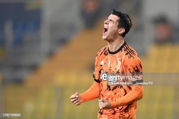 Juventus player Alvaro Morata celebrates 0-4 goal during the Serie A match between Parma Calcio and Juventus at Stadio Ennio Tardini on December 19,...