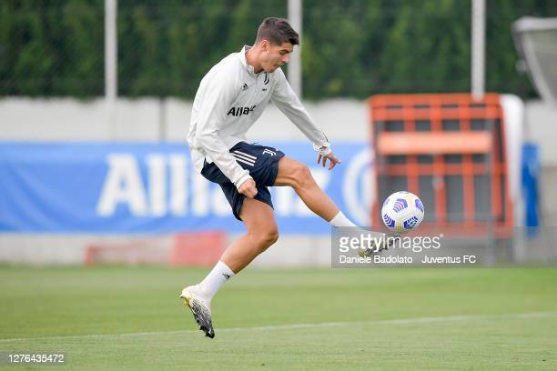 Juventus player Alvaro Morata during a training session at JTC on September 24, 2020 in Turin, Italy.