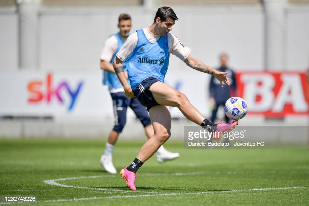 Juventus player Alvaro Morata during a training session at JTC on May 07, 2021 in Turin, Italy.