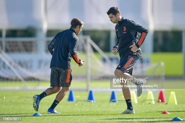 Juventus player Alvaro Morata during the UEFA Champions League training session at JTC on October 27 2020 in Turin Italy