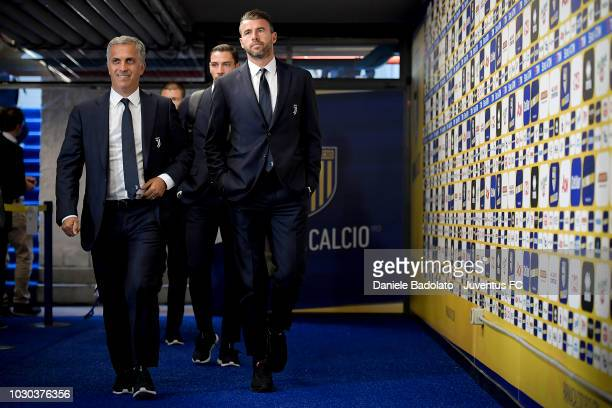 Juventus player Andrea Barzagli and coach Aldo Dolcetti during the serie A match between Parma Calcio and Juventus at Stadio Ennio Tardini on...
