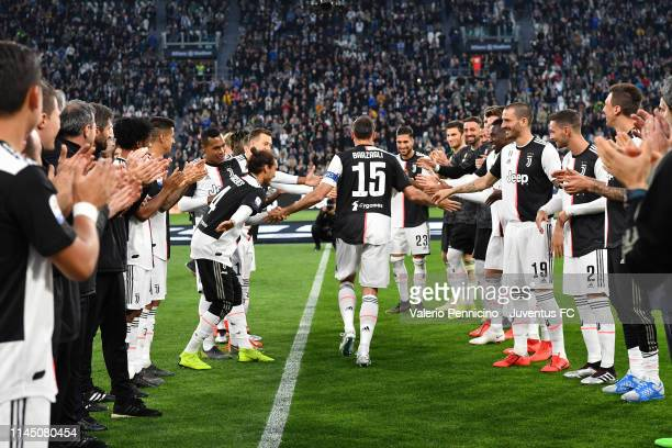 Juventus player Andrea Barzagli greets his teammates and says goodbye to the world of the football before the Serie A match between Juventus and...