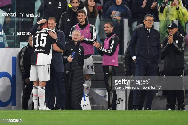 Juventus player Andrea Barzagli hugs his head coach Massimiliano Allegri and say farewall goodbye to the world of the football during the Serie A...