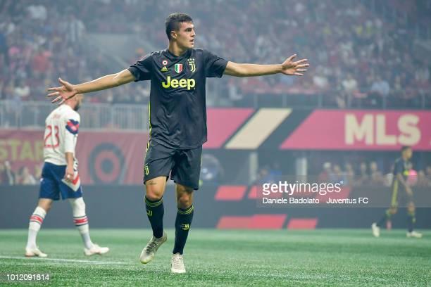 Juventus player Andrea Favilli celebrates 01 goal during 2018 MLS AllStar Game Juventus v MLS AllStars at MercedesBenz Stadium on August 1 2018 in...