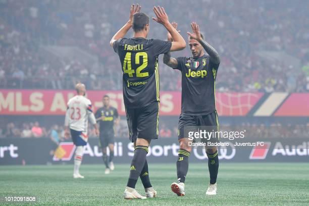 Juventus player Andrea Favilli celebrates 01 goal with Federico Bernardeschi during 2018 MLS AllStar Game Juventus v MLS AllStars at MercedesBenz...
