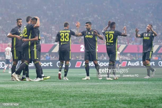 Juventus player Andrea Favilli celebrates 10 goal during the 2018 MLS AllStar Game Juventus v MLS AllStars at MercedesBenz Stadium on August 1 2018...
