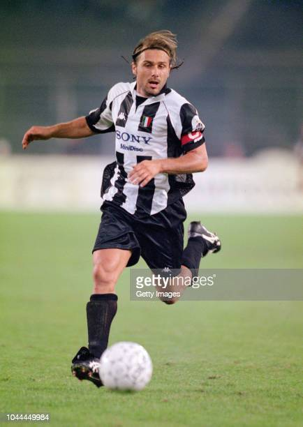 Juventus player Antonio Conte in action during a UEFA Champions League match against Feyenoord in Turin Italy on September 12 1997