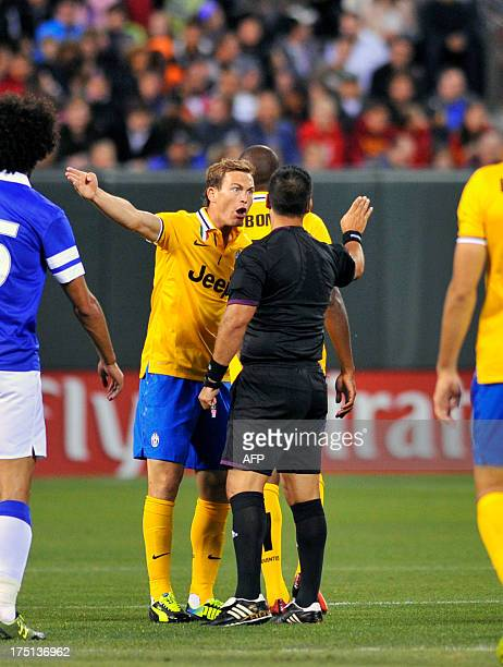 A Juventus player argues with a referee over a foul during the Guinness International Champions Cup at ATT Park in San Francisco Calif on July 31...
