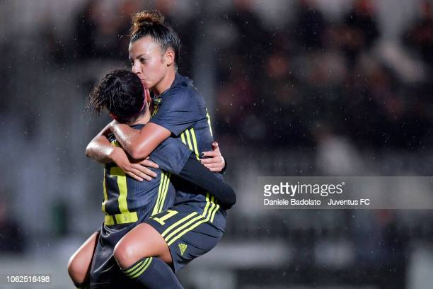 Juventus player Barbara Bonansea celebrates 30 goal with Arianna Caruso during the match between Juventus Women and ASD Orobica on October 31 2018 in...