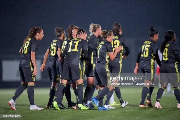 Juventus player Barbara Bonansea celebrates 40 gaol during the match between Juventus Women and ASD Orobica on October 31 2018 in Vinovo Italy