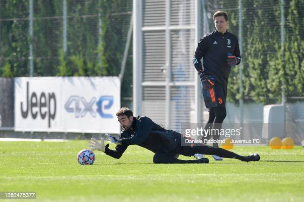 Juventus player Carlo Pinsoglio during the UEFA Champions League training session at JTC on October 27 2020 in Turin Italy