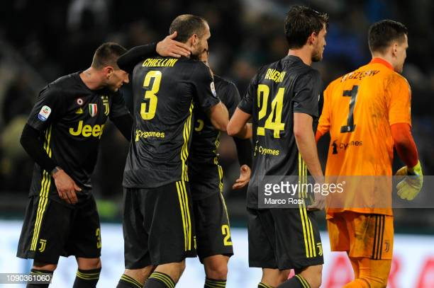 Juventus player celebrates a winner game after the Serie A match between SS Lazio and Juventus at Stadio Olimpico on January 27 2019 in Rome Italy