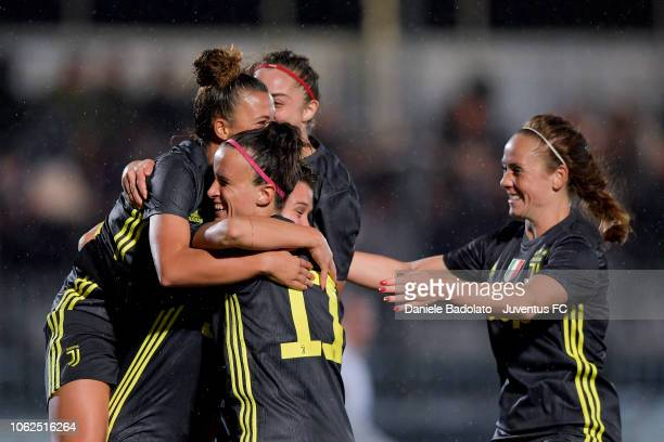 Juventus player Cristiana Girelli celebrates 20 goal during the match between Juventus Women and ASD Orobica on October 31 2018 in Vinovo Italy