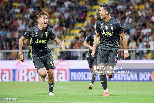 Juventus player Cristiano Ronaldo celebrates 01 goal during the serie A match between Frosinone Calcio and Juventus at Stadio Benito Stirpe on...