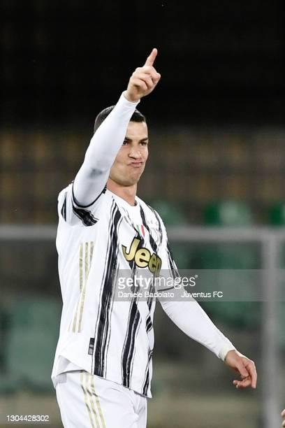 Juventus player Cristiano Ronaldo celebrates 0-1 goal during the Serie A match between Hellas Verona FC and Juventus at Stadio Marcantonio Bentegodi...