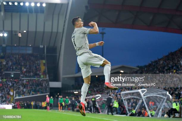 Juventus player Cristiano Ronaldo celebrates 02 goal during the Serie A match between Udinese and Juventus at Stadio Friuli on October 6 2018 in...