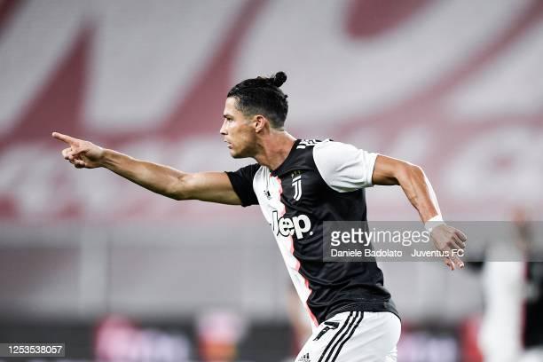 Juventus player Cristiano Ronaldo celebrates 0-2 goal during the Serie A match between Genoa CFC and Juventus at Stadio Luigi Ferraris on June 30,...