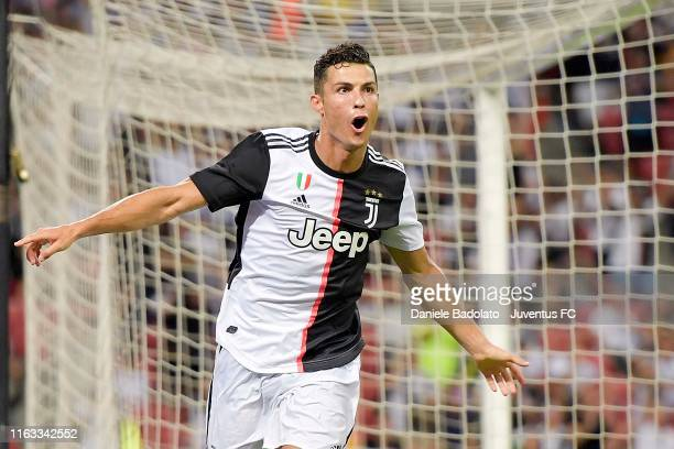 Juventus player Cristiano Ronaldo celebrates 1-0 goal during the International Champions Cup match between Juventus and Tottenham Hotspur at the...