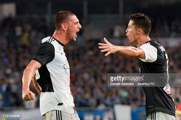 Juventus player Cristiano Ronaldo celebrates 1-1 goal with Merih Demiral during the International Champions Cup match between Juventus and FC...