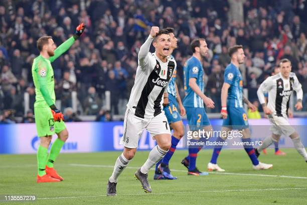 Juventus player Cristiano Ronaldo celebrates 20 goal during the UEFA Champions League Round of 16 Second Leg match between Juventus and Club de...