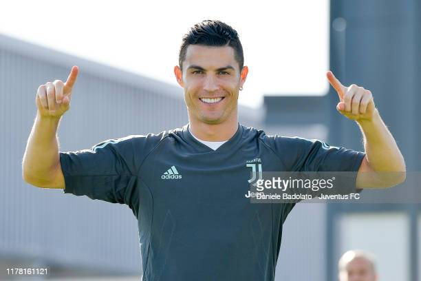 Juventus player Cristiano Ronaldo during a Champions League training session at JTC on September 30, 2019 in Turin, Italy.