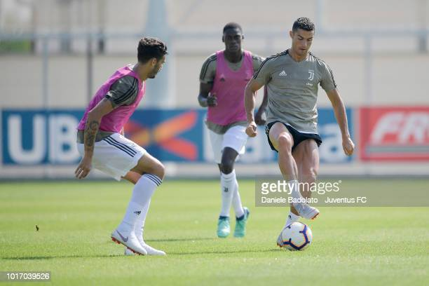 Juventus player Cristiano Ronaldo during a Juventus training session at JTC on August 15 2018 in Turin Italy
