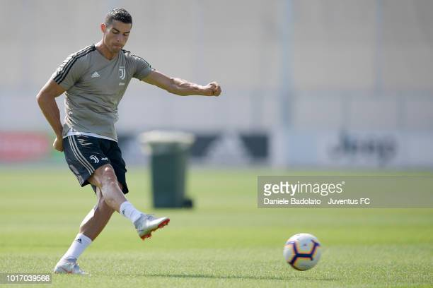 Juventus player Wojciech Szczesny during a Juventus training session at JTC on August 15 2018 in Turin Italy