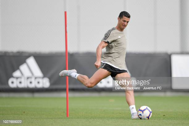 Juventus player Cristiano Ronaldo during a training session at JTC on September 6 2018 in Turin Italy
