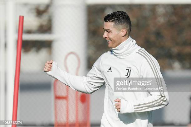Juventus player Cristiano Ronaldo during a training session at JTC on December 5 2018 in Turin Italy