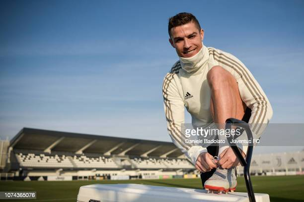Juventus player Cristiano Ronaldo during a training session at JTC on December 18, 2018 in Turin, Italy.