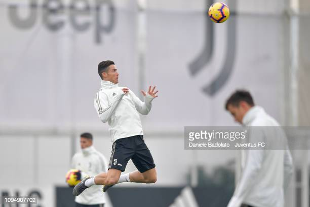 Juventus player Cristiano Ronaldo during a training session at JTC on February 7 2019 in Turin Italy