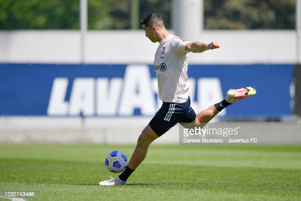 Juventus player Cristiano Ronaldo during a training session at JTC on May 07, 2021 in Turin, Italy.