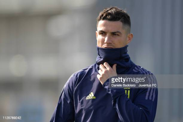 Juventus player Cristiano Ronaldo during the Champions League training session at JTC on February 19 2019 in Turin Italy