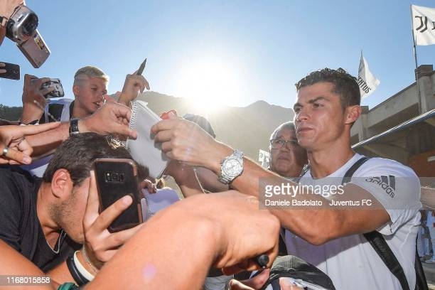Juventus player Cristiano Ronaldo during the Preseason Friendly match between Juventus A v Juventus B on August 14 2019 in Villar Perosa near Turin...
