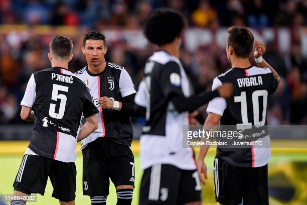 Juventus player Cristiano Ronaldo during the Serie A match between AS Roma and Juventus at Stadio Olimpico on May 12 2019 in Rome Italy